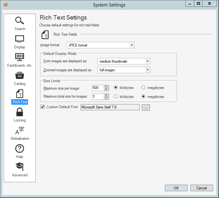 Configure Global Rich Text Settings