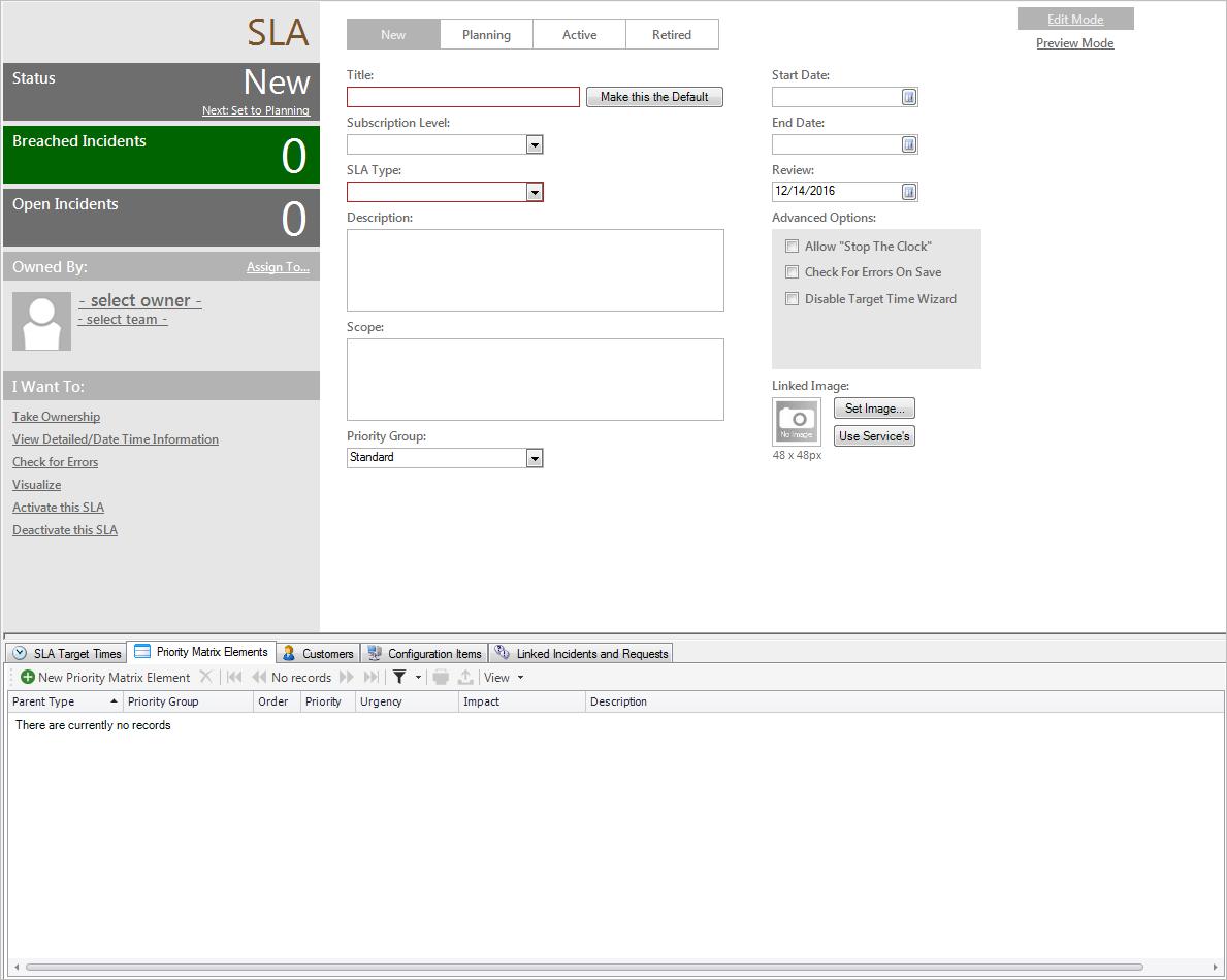 Create a Service Catalog (Service, SLA, Priority Structure)