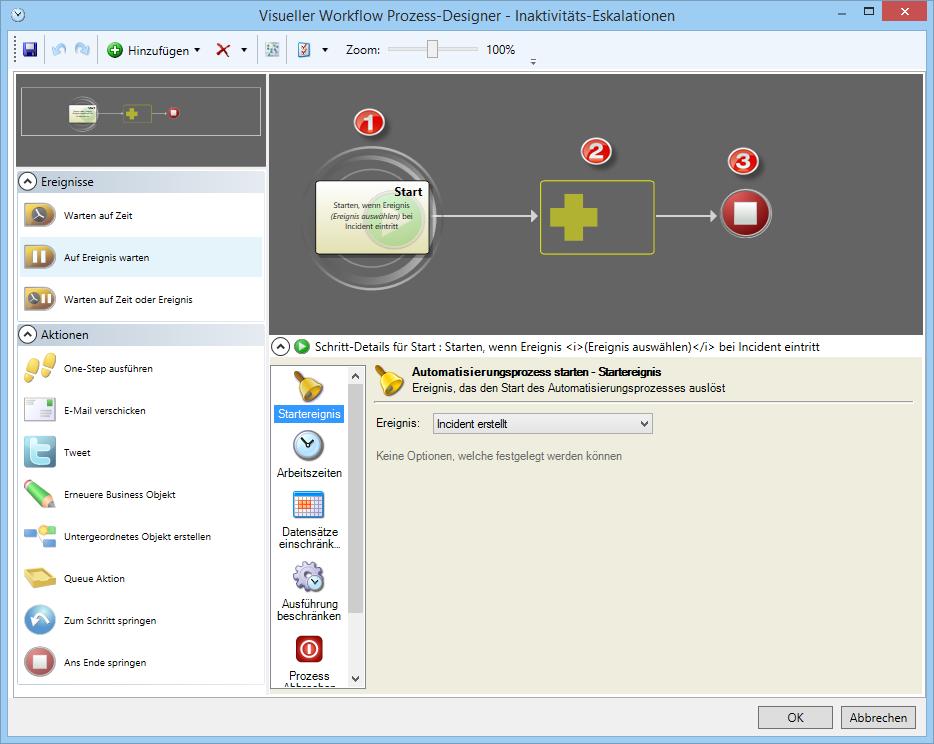 Automatisierungsprozess Visueller Workflow Prozess-Designer