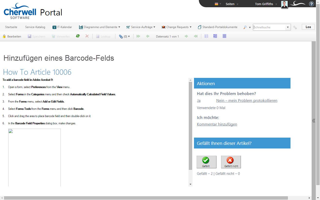 Knowledge Base-Eintrag – Portal-Formular