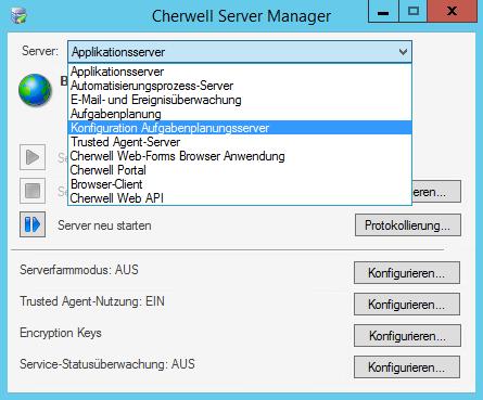 Konfigurieren des Cherwell Servers für Konfigurationsplanung