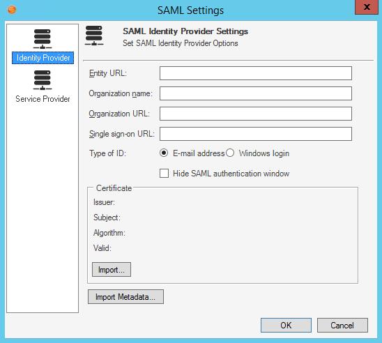 Configure the SAML Identity Provider
