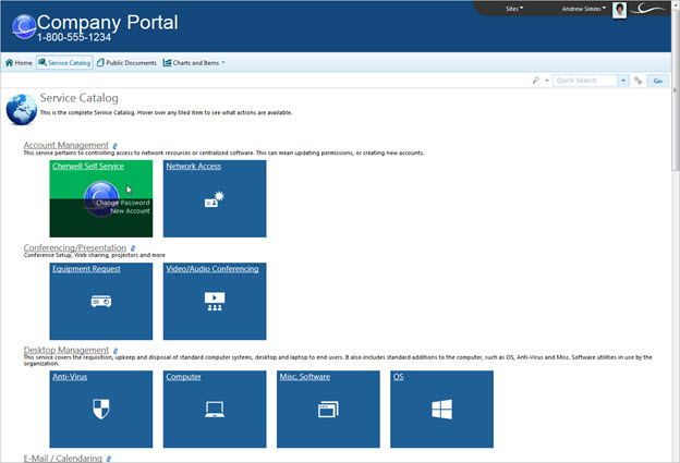 Default portal site service catalog for It service catalogue template
