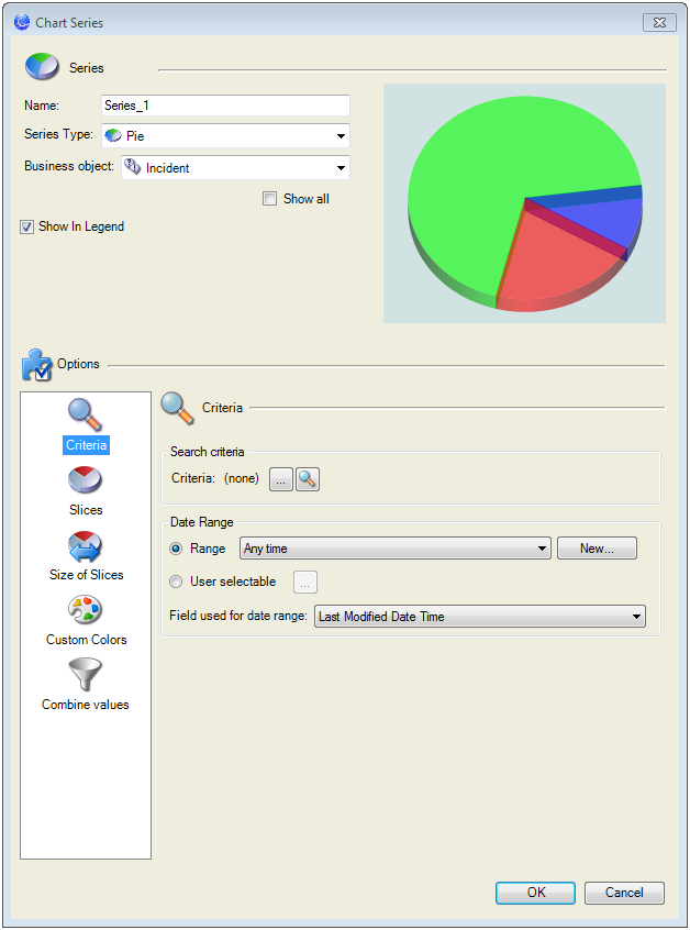 Define The Data To Display In A Pie Chart Widget Criteria Page