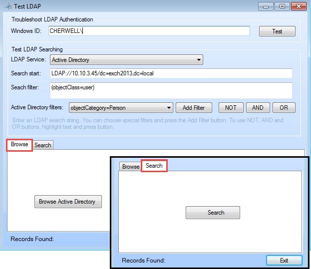 Using the Test LDAP Tool