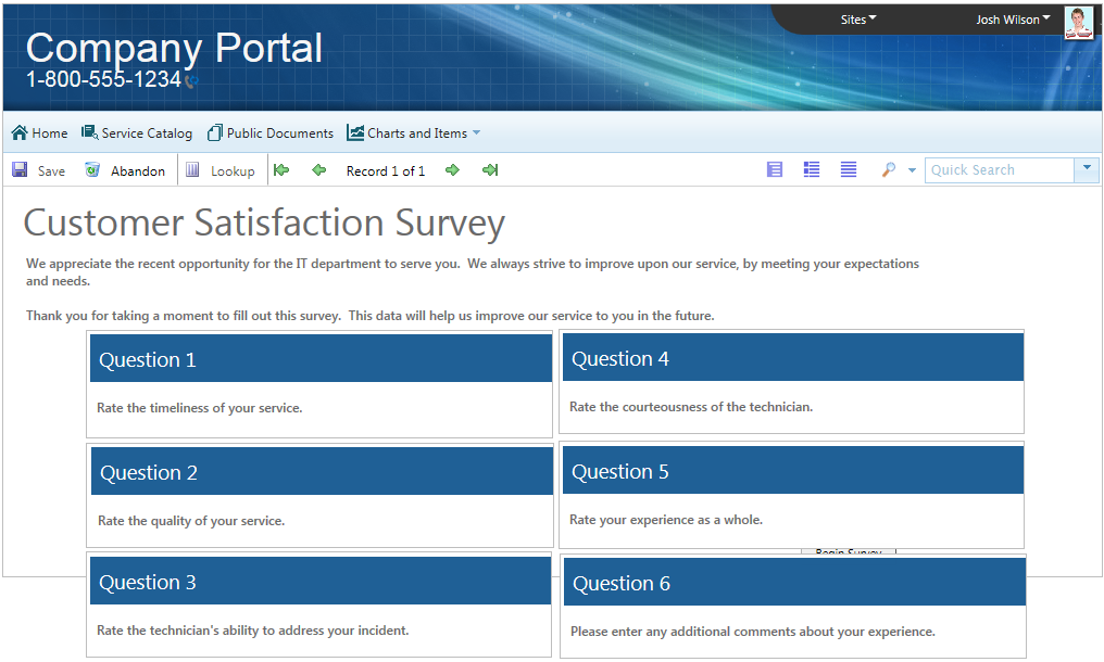 about the survey template