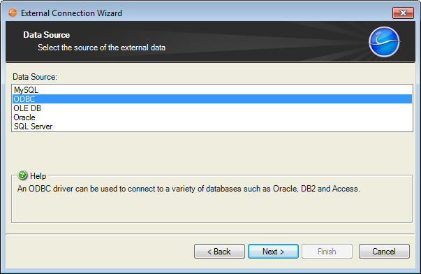 Create an External Connection to ODBC