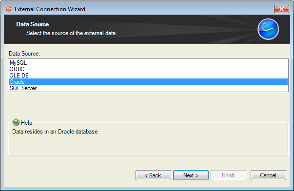 Create an External Connection to Oracle