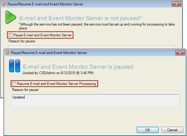 Pause/Resume E-mail and Event Monitor Server Processing