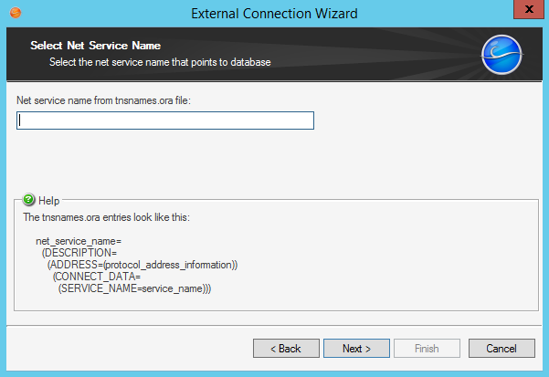 Create an external connection to oracle external connection wizard net service name for oracle malvernweather Image collections