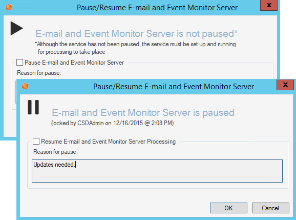 pause resume e mail and event monitor server processing