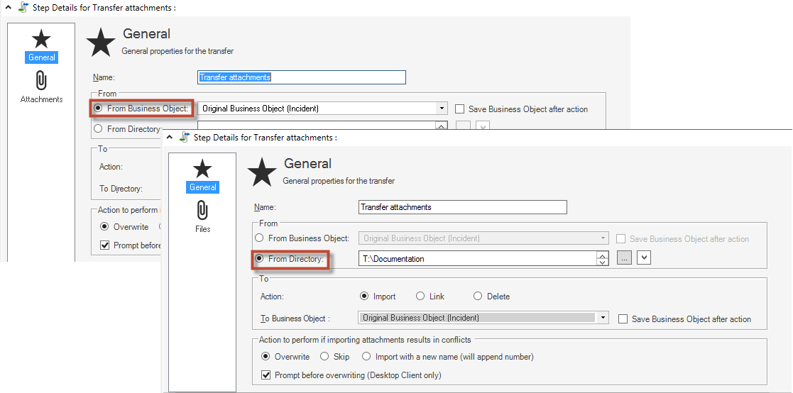 Define a Transfer Attachments Action for a One-Step