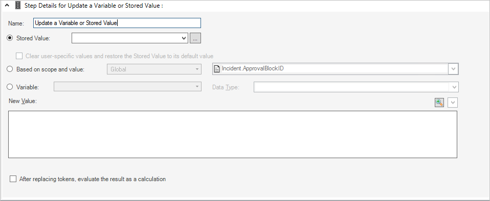 Define an Update a Variable or Stored Value Action for a One