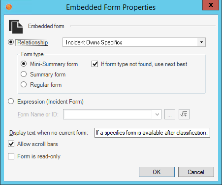 Add an Embedded Form Control to a Form