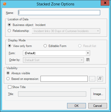 Define Stacked Zone Options for a Portal Form Arrangement