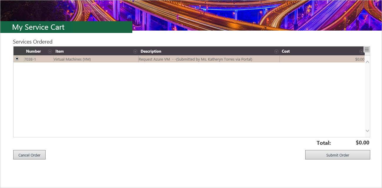 Azure Virtual Machine in Service Cart Request