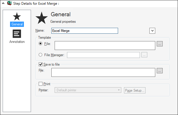 Define an Excel Merge Action for a One-Step