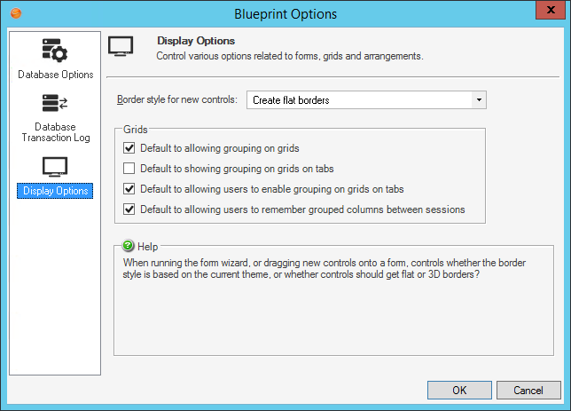 Define Global Grid and Form Control Display Settings