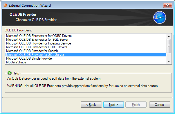Create an External Connection to an OLE DB