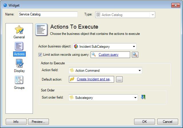Define actions for an action catalog widget action catalog widget properties window actions page publicscrutiny Images