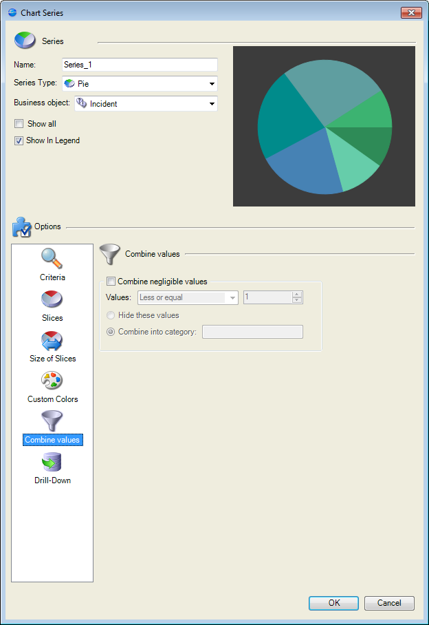Define How Values Are Combined For A Pie Chart Widget