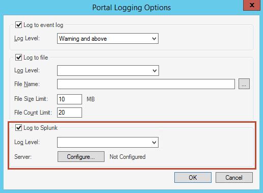 Configure Logging to a Splunk Server